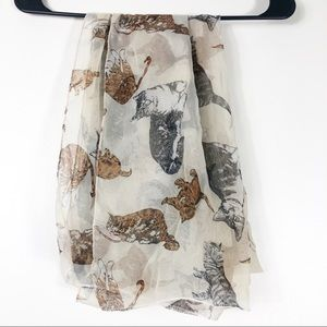 Sheer Cream Cat Scarf